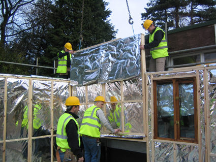 Apollo prefab wall installation