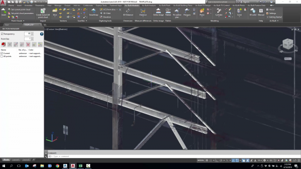 As-Built for AutoCAD Software_Fitted beam solids and point cloud