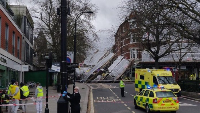 scaffolding collapsed, Hampstead,