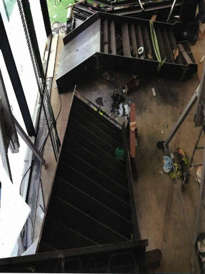 amputation of his leg, staircase,