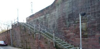 Northgate steps, chester city walls,