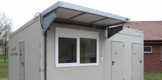 coronavirus screening stations, modular buildings,