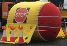 inflatable safety barrier,