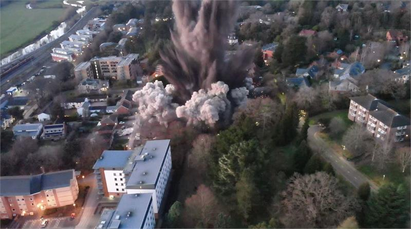 WWII bomb blast in Exeter causes damage to nearby buildings